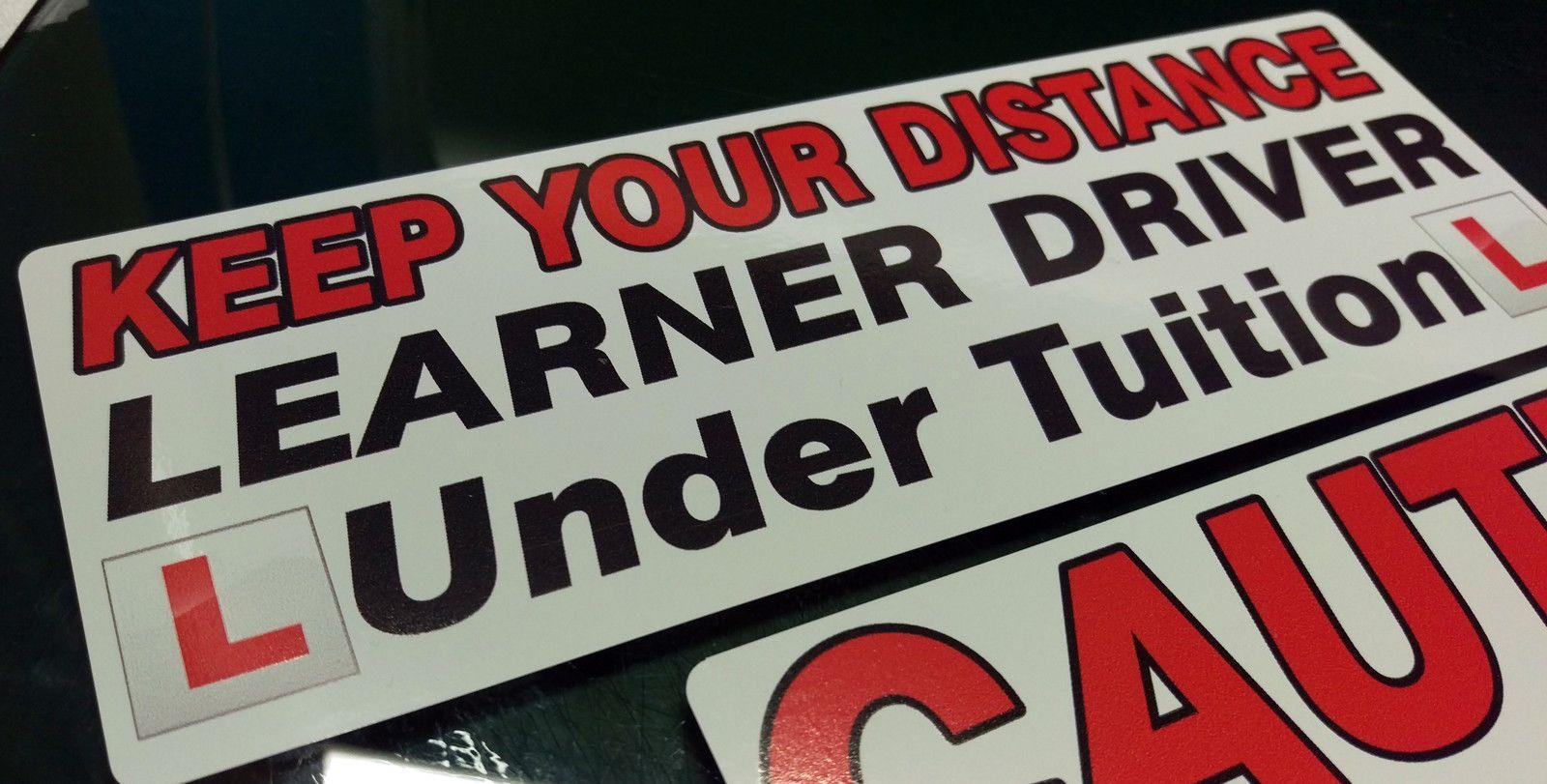 learner driver instrcutor car sticker decal 6 piece set